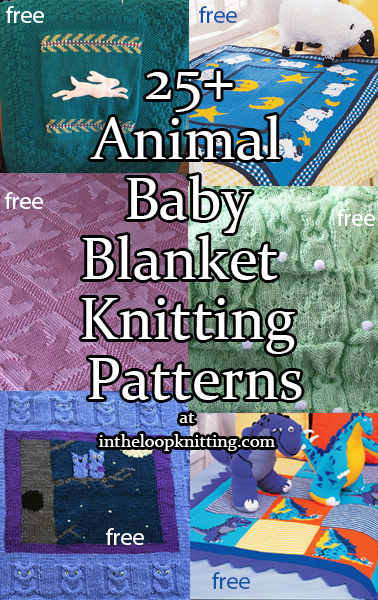 Knitting patterns for Baby blankets with animal themes. Most patterns are free.