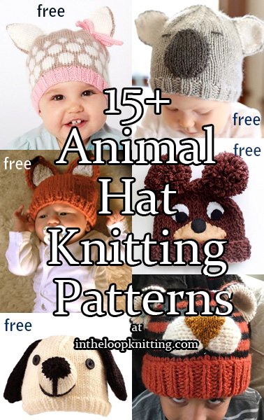 Knitting patterns for Animal Hats. What makes a baby even cuter? A cute animal hat! These hats are great for newborn photo props, shower gifts, or first Halloween costumes. Don't have a baby to knit for? Many of these hats have larger sizes for older children and adults. Most patterns are free.