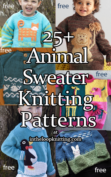 Knitting patterns for sweaters for babies and children with animal themes. Most patterns are free.