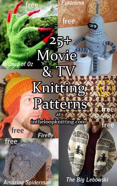 Assorted Movie and TV Knitting Patterns. A grab bag of various knitting patterns inspired by movies and tv series. I have several other posts that focus on individual movies and tv shows.  Most patterns for free.