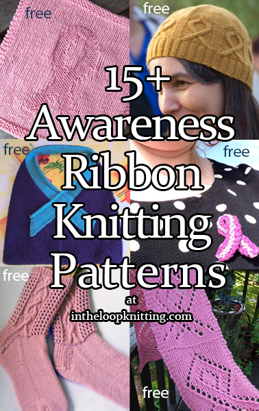 Knitting Patterns with awareness ribbon motifs for Cancer Awareness and other causes.