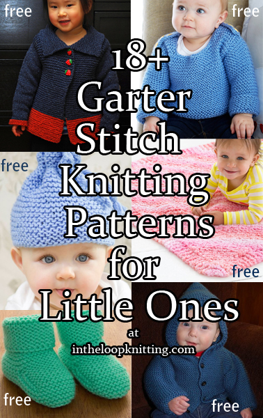 Knitting Patterns in Garter Stitch for Babies and Kids including sweaters, hats, blankets, booties, and more. Most patterns are free.