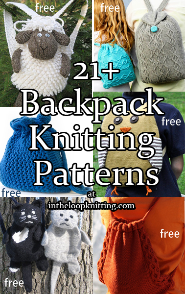 Backpack Knitting Patterns. Totes, knapsacks, ruck sacks, and other bags that can be used as backpacks. Most patterns are free.