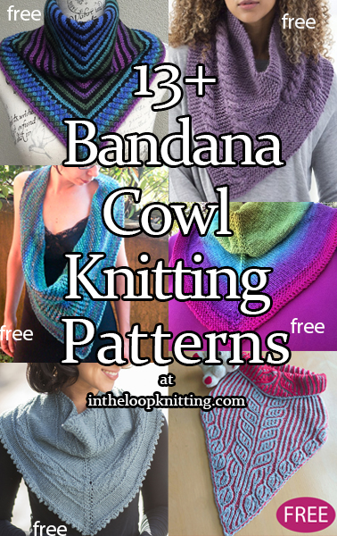 Knitting patterns for cowls with a triangular shaped front to look like draped shawls or bandanas. Most patterns are free.