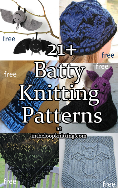Batty Knitting Patterns. Bat knitting projects for toys, shawls, hats, decor, and more featuring a bat motif. Most patterns are free.