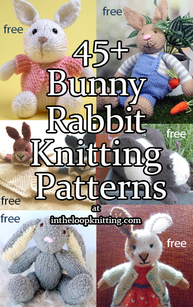 Bunny Rabbit Knitting Patterns. Knitting patterns for rabbit inspired toy softies, hats, accessories, and more. Most patterns are free.