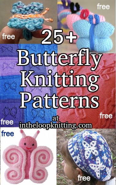 Knitting Patterns with Butterfly Motifs. Most patterns are free.