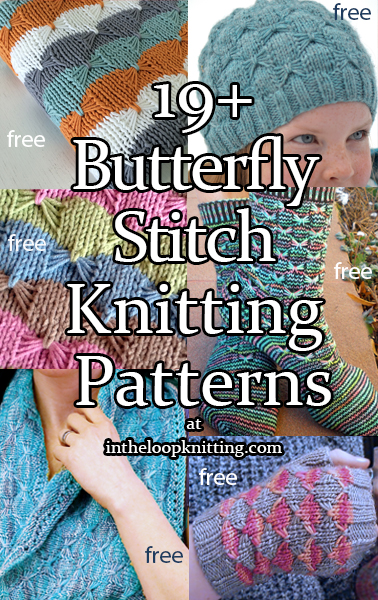 Knitting patterns using the butterfly stitch, also called the bow or bowtie stitch. Most patterns are free.