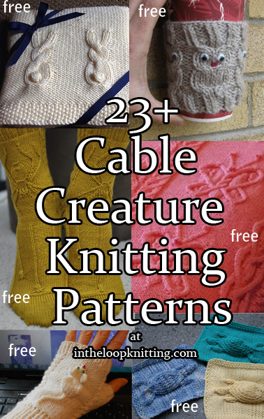 Cable Creatures Knitting Patterns. I'm fascinated by cable motifs that look like animals such as owls, rabbits, snakes, spiders, mice, etc. or natural objects. These motifs can be used on blankets, hats, mitts, and more. Most patterns are free.