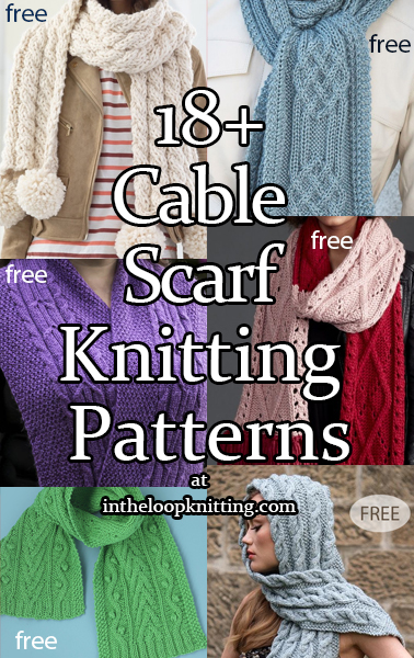 Knitting patterns for Cable Scarves. Most patterns are free.