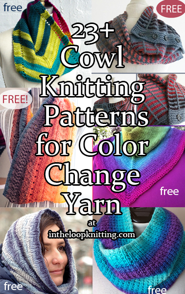 Knitting patterns for cowls knit with color-change cake, self-striping, long gradient, ombre, and multi-colored yarns. Most patterns are free.