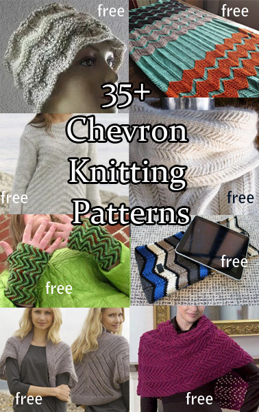 Chevron Knitting Patterns.  Chevron and zigzag stitches are an easy way to add color and interest to your knitting projects. And they are much simpler than they look! Most patterns are free.