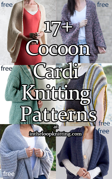 Cocoon Cardigan Knitting patterns for cozy cardigans, often easy, with a scooped silhouette. Many are knit flat in one piece, with or without added sleeves. Most patterns are free.