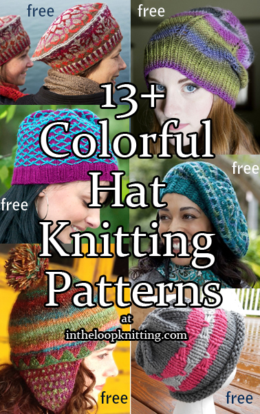 Colorful Hat Knitting Patterns.  Beanies, berets, and slouchy hats featuring colorwork designs or using multicolor yarn. Most patterns are free.