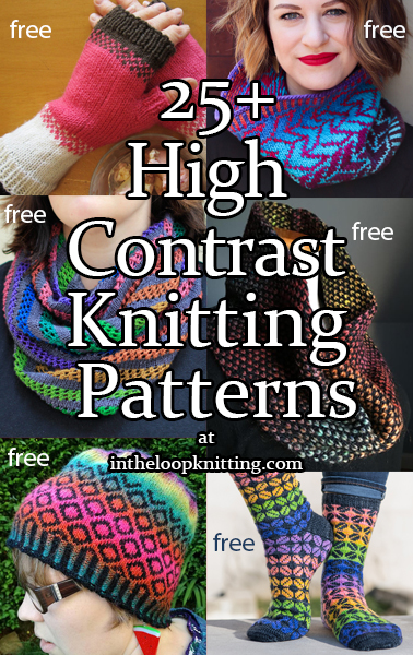 High Contrast Knitting Patterns. These knitting patterns feature strong color pops against neutral outlines, silhouettes or gridwork, reminiscent of stained glass windows, sunset photos, and more. Many of the patterns are free.