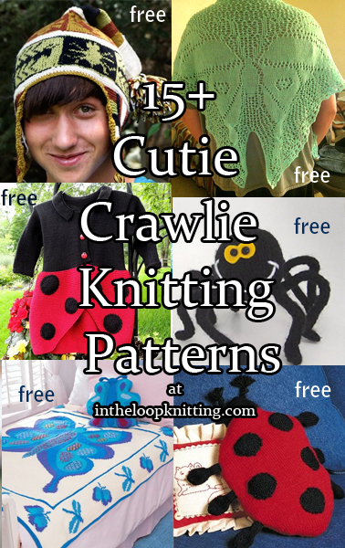 Cutie Crawlies Insect Knitting Patterns. Butterflies, ladybugs, bees, and, yes, spiders are all part of the Cuddly Crawlie kingdom. Take a look at these adorable patterns and you'll never call them creepy again!