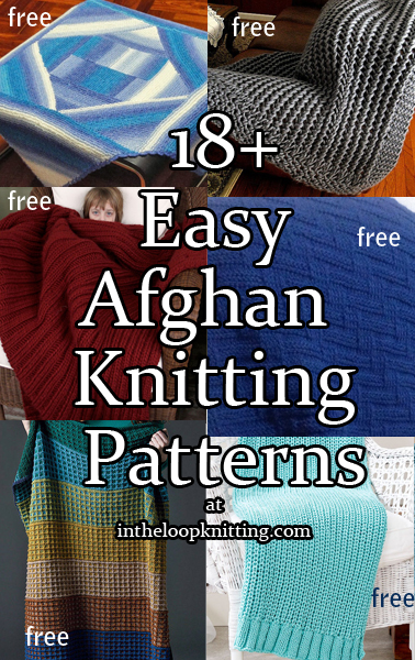 Easy Afghan Knitting Pattterns. Blanket knitting patterns rated easy by knitters or the designers. Many of the patterns are free.