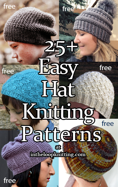 Knitting patterns for easy beanies, slouchy hats, berets and more. Many of the patterns are free.