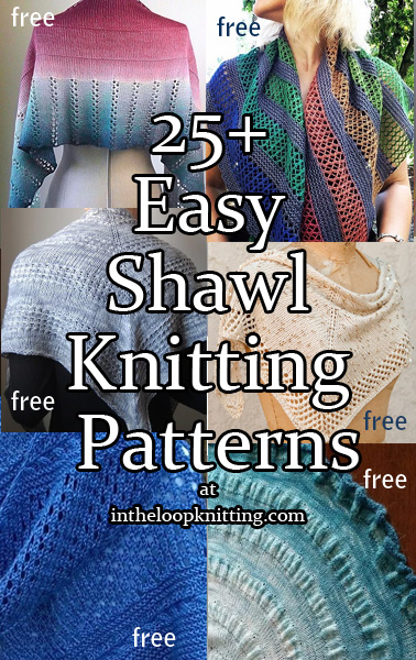 Easy Shawl Knitting Patterns. These shawl patterns were labeled by designers or knitters as easy to work. Many are stockinette or garter with decorative borders or simple colorwork.
