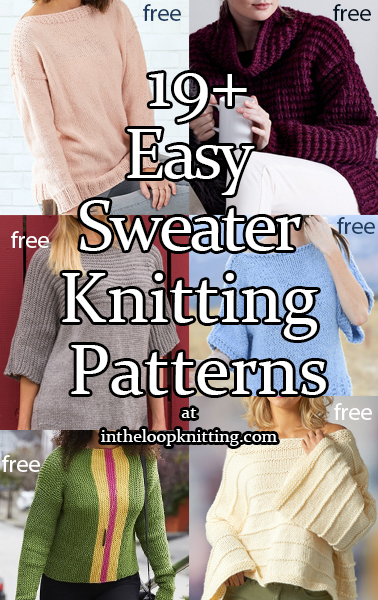 Easy Sweater Knitting Patterns. Patterns for pullovers, cardigans and vests that have been rated easy by their designers and/or your fellow knitters. Most patterns are free.