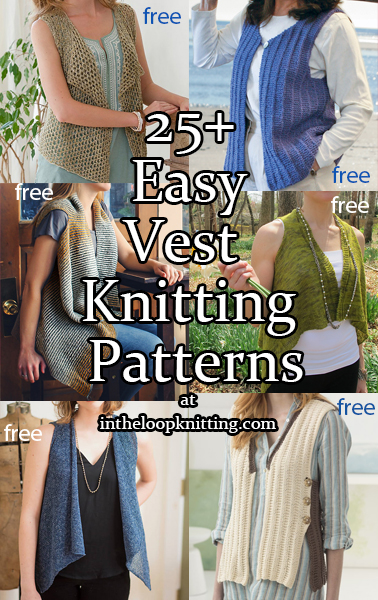 Easy Vest Knitting Patterns.  Most patterns are free.