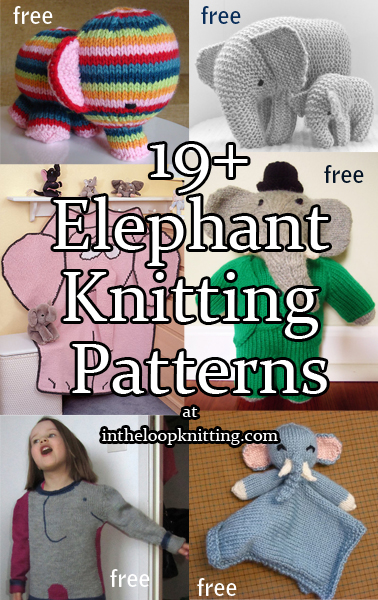 Elephant Knitting Patterns. Pachyderm inspired toys, clothes, blankets, and more. Most patterns are free.