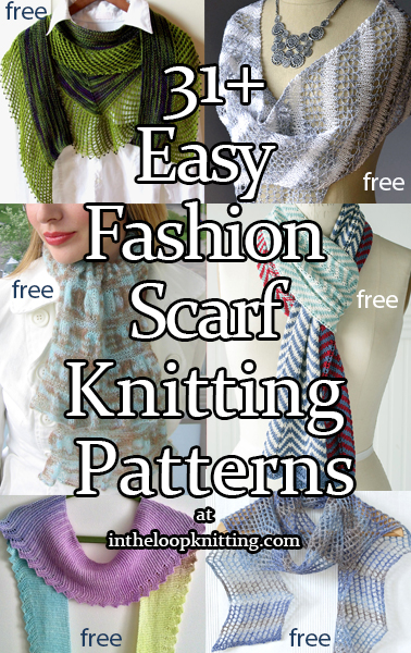 Knitting Patterns for Easy Fashion Scarf. These lightweight scarves are designed as stylish accessories, perfect for spring and summer. Rated easy by Ravelrers and/or the designer.Most patterns are free.
