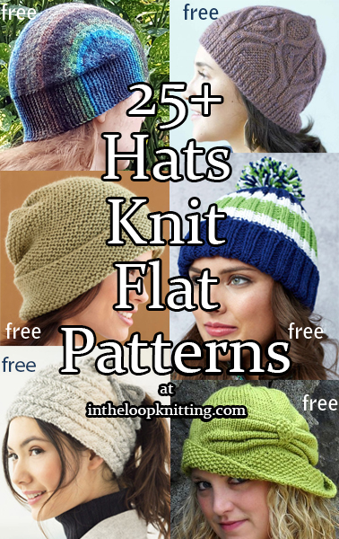 Hats Knit Flat Knitting Patterns.  These hats are knit flat on straight needles and seamed so no need for dpns! Some are easy but some are more ambitious with short rows, cables, and other design techniques. Most patterns are free.