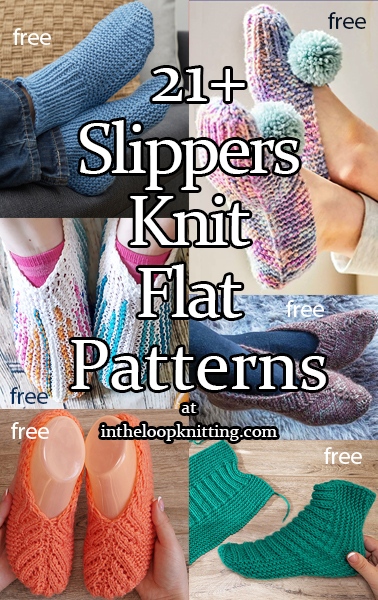 Slippers Knit Flat Knitting Patterns. Knitting patterns for slippers knit flat on straight needles. Many of the patterns are free.