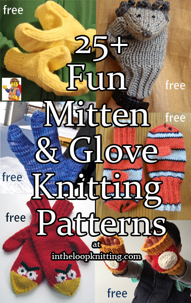 Fun Mitten and Glove Knitting Patterns. Novelty mittens, gloves, and mitts that can be worn for costumes or fun. Most patterns for free.