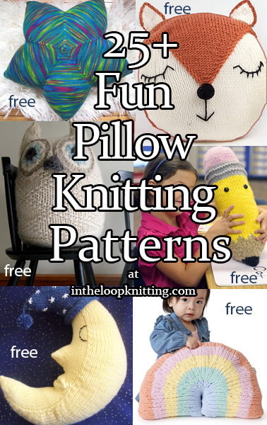 Knitting patterns for cushions and pillows in fun shapes. Most patterns are free.