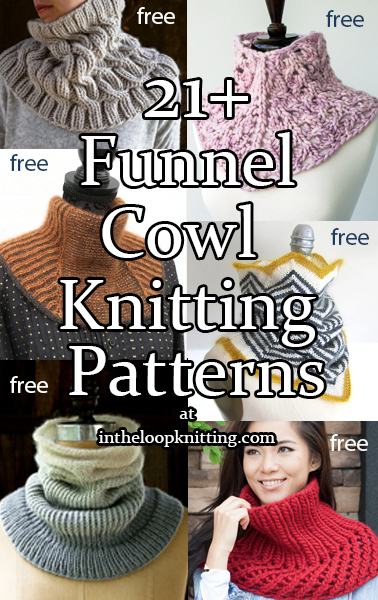 Funnel Cowl Knitting patterns for funnel or umbrella shaped cowls with snug necks that flare into cozy collars. Most patterns are free.