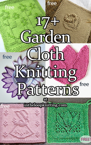 Knitting Patterns for flower and other garden inspired blocks for dish and wash cloths or other knitting projects. Most patterns are free.