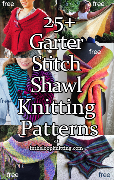 Garter Stitch Shawl knitting patterns. Knitting patterns for shawls knit all or mostly with garter stitch including variations like colorfuly striped shawls, hooded shawls, and clever short row shaped shawls. Most patterns are free.