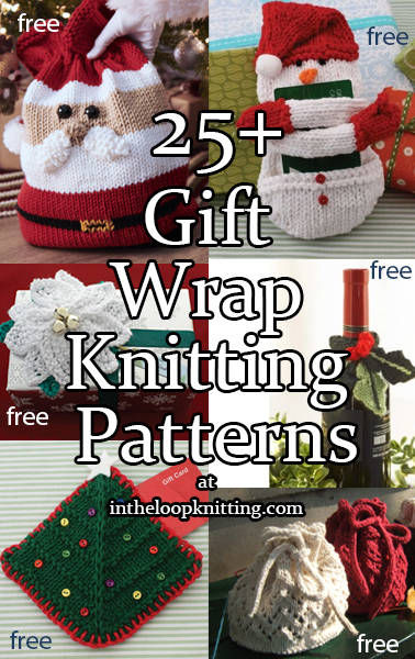 Gift Presentation Knitting Patterns. Knitting patterns for Gift Bags, Gift Card Holders, Gift Toppers, Bottle Cozies, and other gift wrap knitting patterns. Most patterns for free.