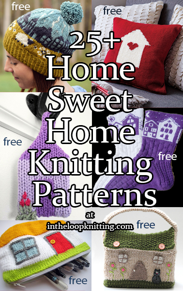 Knitting patterns that feature motifs of homes of all kinds from a Hobbit hole to a castle to a cabin. Most patterns are free.