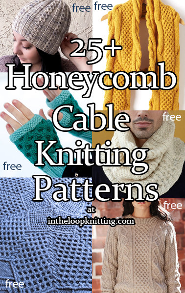 Knitting patterns created with a honeycomb cable stitch. Most patterns are free.