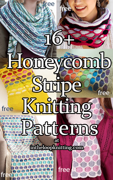 Honeycomb Stripe Knitting Patterns. Projects knit with an easy slipped stitch colorwork pattern that forms honeycomb, chain, or lozenge shaped stripes. Most patterns are free.
