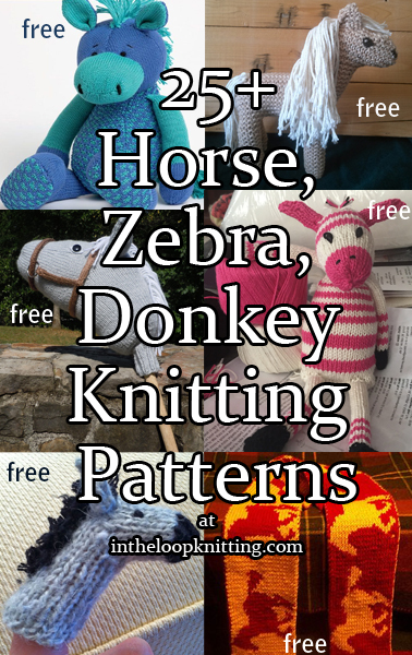 Horse, Zebra, and Donkey Knitting Patterns. Knitting patterns for softies, hats, scarves, and more. Most patterns are free.