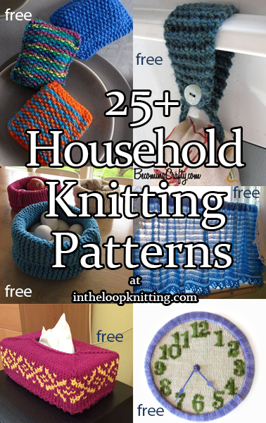 Household Knitting Patterns. Knitting patterns for every room in the house. These patterns make thoughtful and quick housewarming gifts, last minute holiday gifts, or more. Many of these patterns will help you use up your leftover yarn. Most patterns are free.