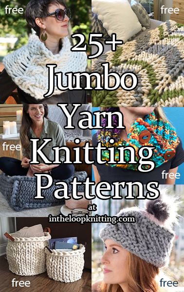 Jumbo Yarn. Cowls, hats, blankets, and more knit with jumbo weight yarn. Most patterns are free.