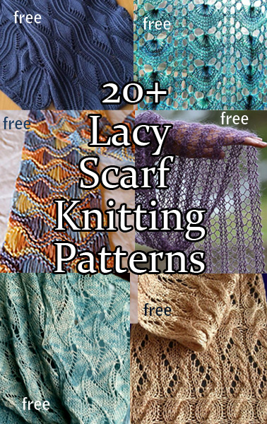 Lace Scarf Knitting Patterns. Knitting projects for scarves knit with lace stitches. Many of the patterns are free