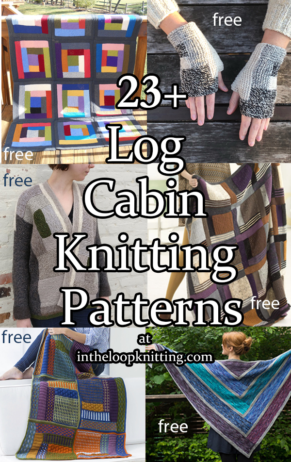 Log Cabin Knitting patterns inspired by log cabin quilts, constructed with knitted stripes to form squares. Great for stashbusting. Most patterns are free.