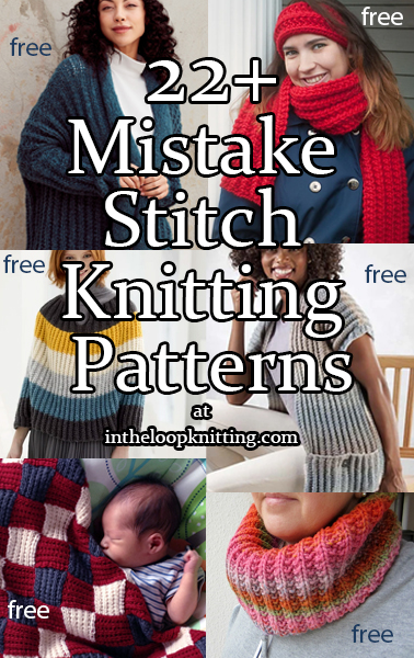Mistake Rib Stitch Knitting patterns. Mistake stitch is a one row or two row repeat that creates texture like raised rib. Its name is inspired by the fact that its pattern is knit like regular ribbing with a mistake - the second row is off by one stitch - or other odd number - that creates the texture. Most patterns are free.