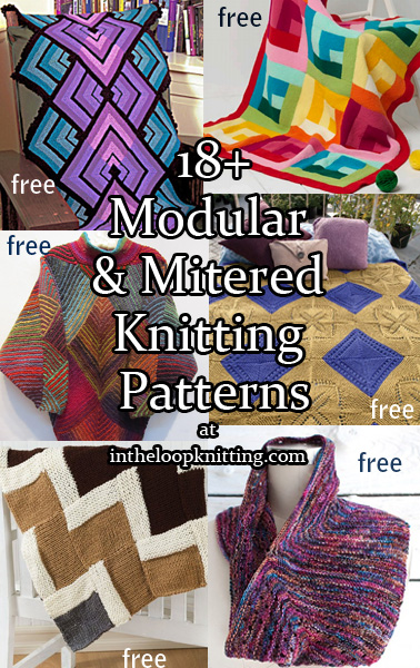Mitered and Modular Throws and Accessories Knitting Patterns. Mitered and modular designs often make great portable or scrap yarn projects. Some of the patterns are joined as you go and some are knit separately and then pieced together into a large project later. Many of the patterns are free.