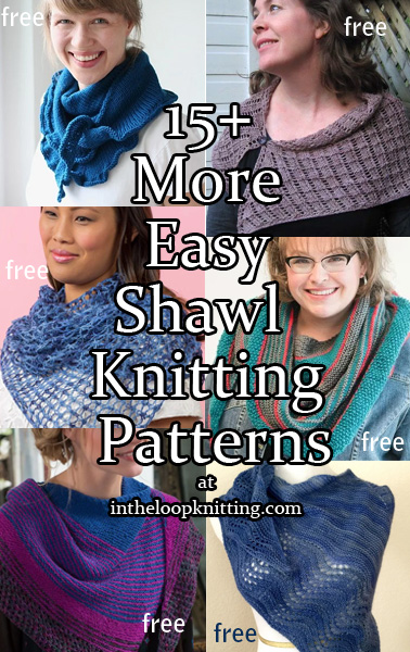 More Easy Shawl Knitting Patterns. These shawl patterns were labeled by designers or knitters as easy to work. Many are stockinette or garter with decorative borders or simple colorwork.
