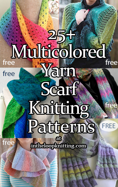 Knitting patterns for scarves knit with self-striping, variegated, gradient and other color change yarn.  Many of the patterns are free.
