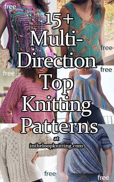 Sweater and top knitting patterns constructed with sections knit in different directions. Most patterns are free.