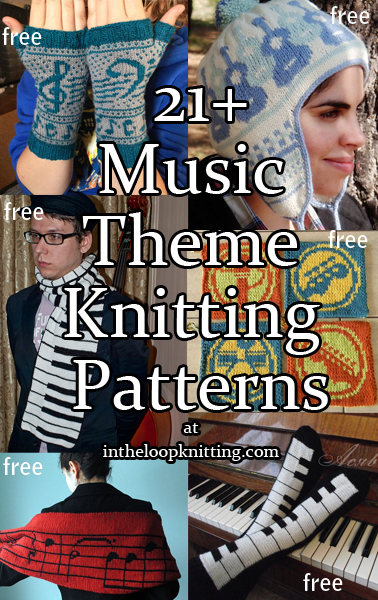 Musical Knitting PatternsKnitting projects for hats, scarves, mitts, totes, and more with music motifs.. Most patterns are free.