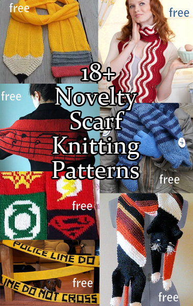 Novelty Scarf Knitting Patterns. Fun scarves to knit for adults and children! Most Patterns are free. Most patterns are free.